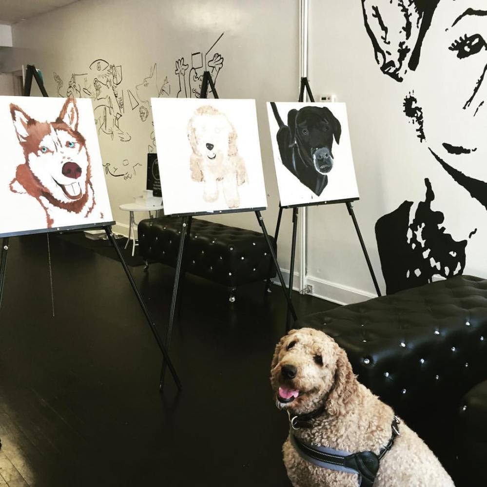 Dog client with Doggie Paintings.jpg